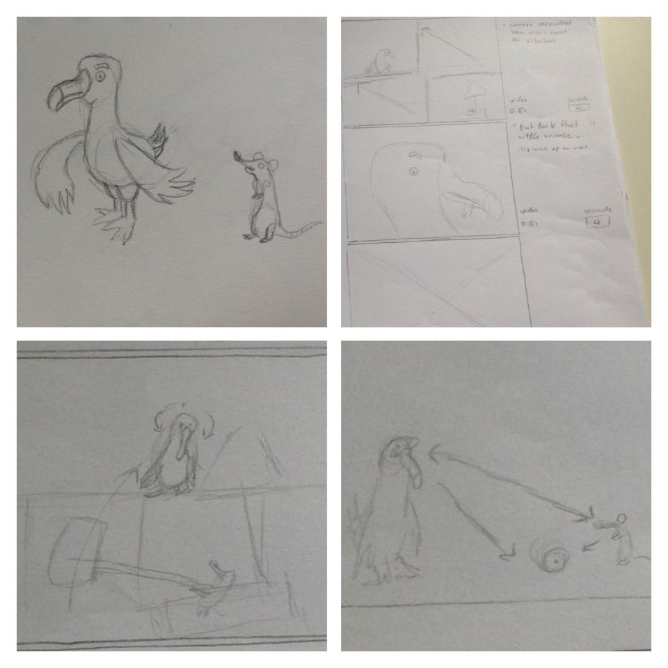 Character design and a view panels from my 6 pages of storyboards.