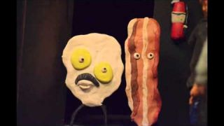 Bacon and eggs walk into a bar.